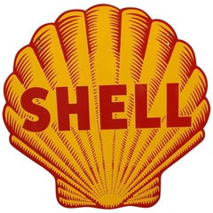 Shell Double Sided Porcelain Sign, 1948-1955