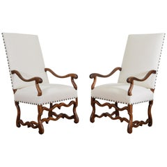 Pair of French Os de Mouton Walnut Fauteuils, 18th Century