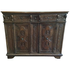 17th Century Spanish Chip-Carved Credenza