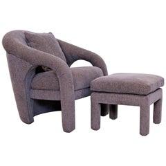 Mid-Century Modern Memphis Style Purple Sculptural Armchair and Ottoman, 1980s