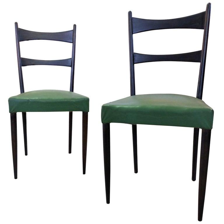 Osvaldo Borsani, Italian Mid-Century Set of Six Black and Green Chairs 1950s