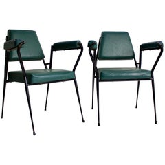 Pair of Italian Chairs with Metal Frames by Fratelli Ferrari, 1950s