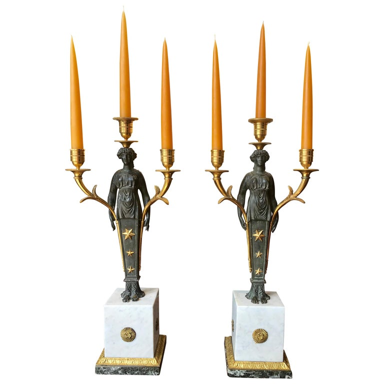 Pair of Empire Candelabra of Ormolu and Patinated Bronze and Marble