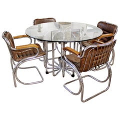 Mid-Century Modern Rinaldi Tubular Chrome Base Dinette Table & Four Chairs
