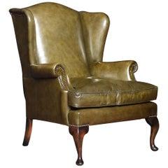 Georgian Style Leather Wingback Armchair
