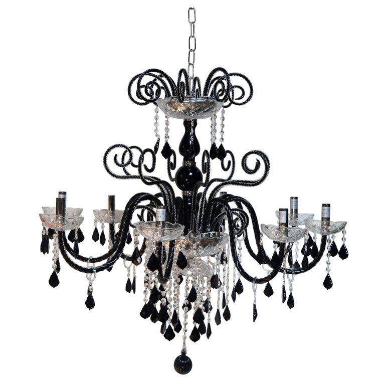 Black murano glass chandelier for sale at 1stdibs black murano glass chandelier for sale aloadofball Choice Image
