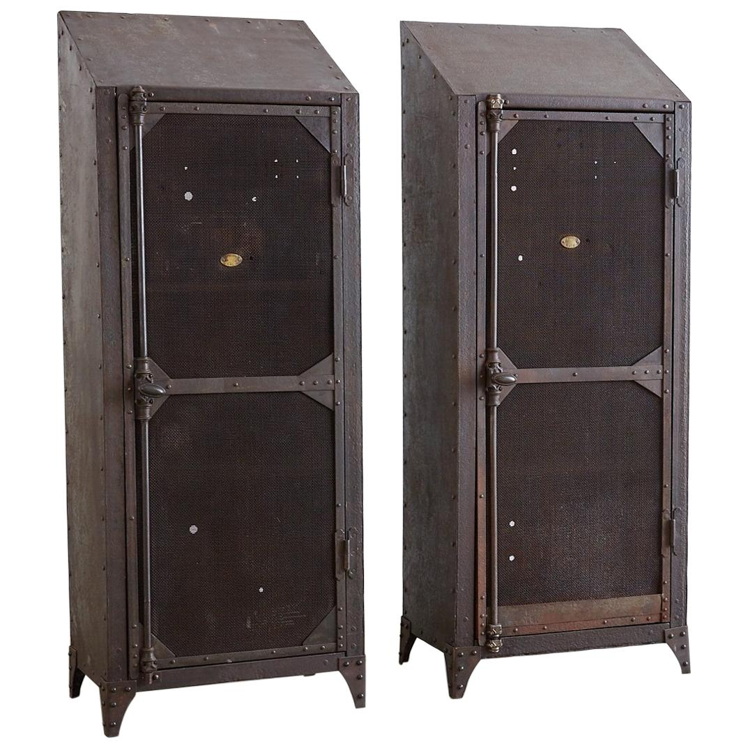 Charming Pair Of Industrial Patinated Iron Locker Cabinets For Sale