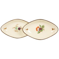 Pair of 18th Century Creamware Dishes Hand Painted