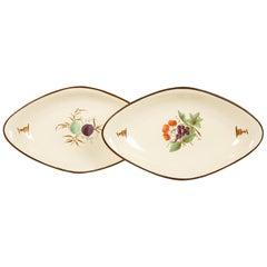 Pair of 18th Century Creamware Dishes Hand Painted circa 1785