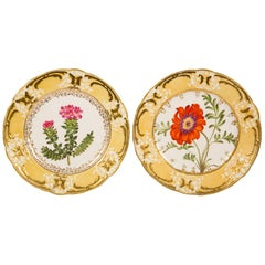 Pair of Antique Dishes with Single Hand-Painted Flower