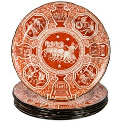 Red Antique Greek Ware Dishes Eight in a Neoclassical Pattern in Stock