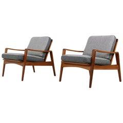 Pair of Rare Danish Modern 1960s Teak Lounge Easy Chairs by Arne Wahl Iversen