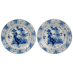 Pair of Antique Blue and White Dutch Delft Dishes