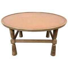 Cerused Oak and Leather Coffee Table, Charak Modern, USA Circa 1945