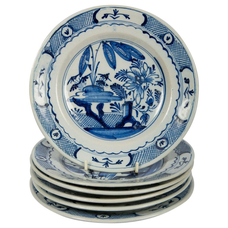 Blue and White Delft Dishes a Set of Six