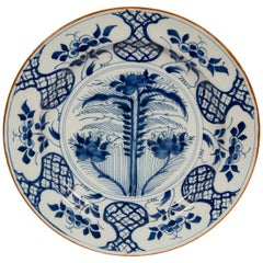 Delft Blue and White Charger 18th Century Showing Flowers in a Wheat Field