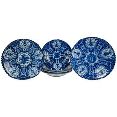 Antique Blue and White Delft Dishes a Set of Eight
