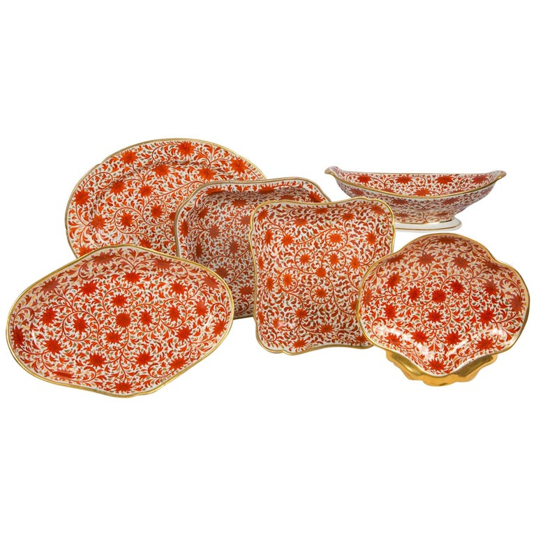 Set of Antique Porcelain Dishes in Coalport's Red Chrysanthemum Pattern For Sale
