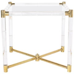 Faux Bamboo Table with Lucite and Brass Detailing, circa 1970