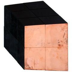 Miriam Loellmann,Pop Art Wall Cube Piece,one-of-a-kind, polished copper, leather