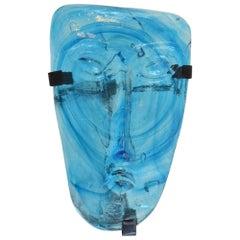 1960s Erik Höglund for Kosta Boda Blue Art Glass Face Mask Wall Hanging