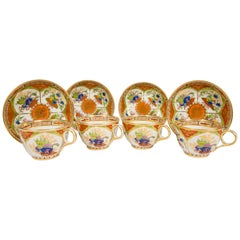 Worcester Dragon in Compartments Tea Cups and Saucers