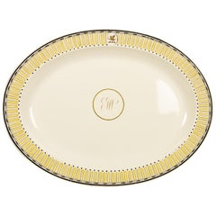 One of a Pair Antique Wedgwood Etruscan Creamware Platters with Crest & Monogram