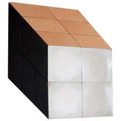 """Contemporary art cube mirror """"Classic"""" wall piece in stainless steel, leather"""