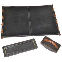 Vintage Gucci Desk Set in Black Leather and Wood