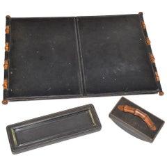 Vintage Gucci Desk Set in Black Leather and Wood
