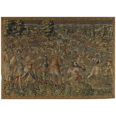 Fine 16th Century Brussels Tapestry, Light Blue, Green, Ivory Silk