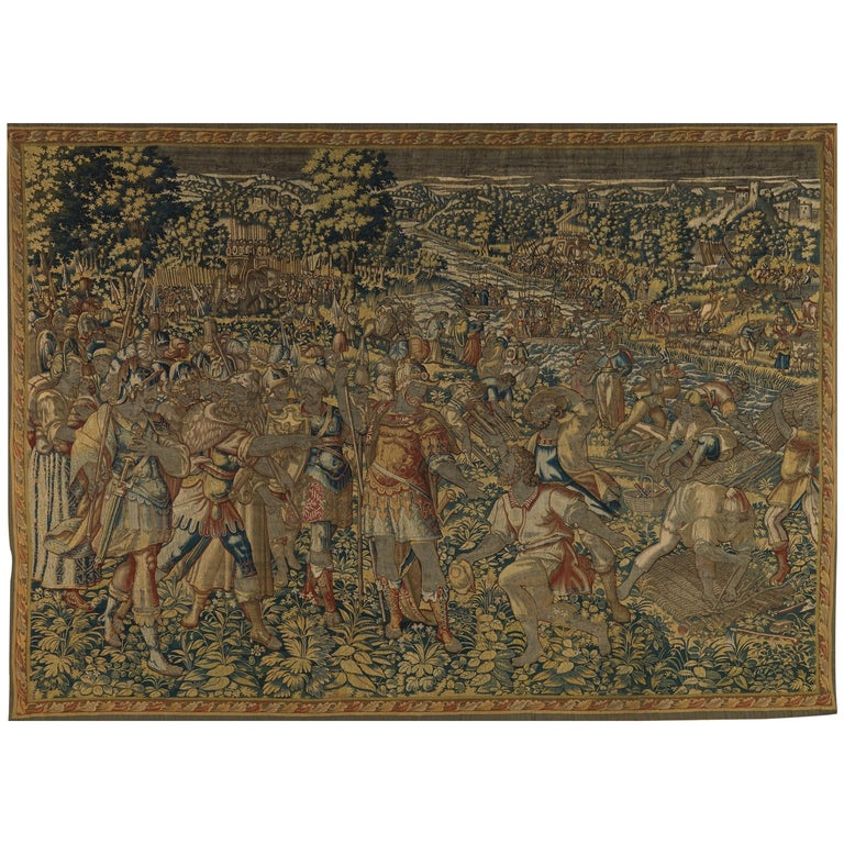 Fine 16th Century Brussels Tapestry, Light Blue, Green, Ivory Silk For Sale