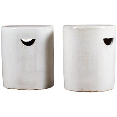 Modern Pair of White Glazed Contemporary Ceramic Garden Seats Handmade