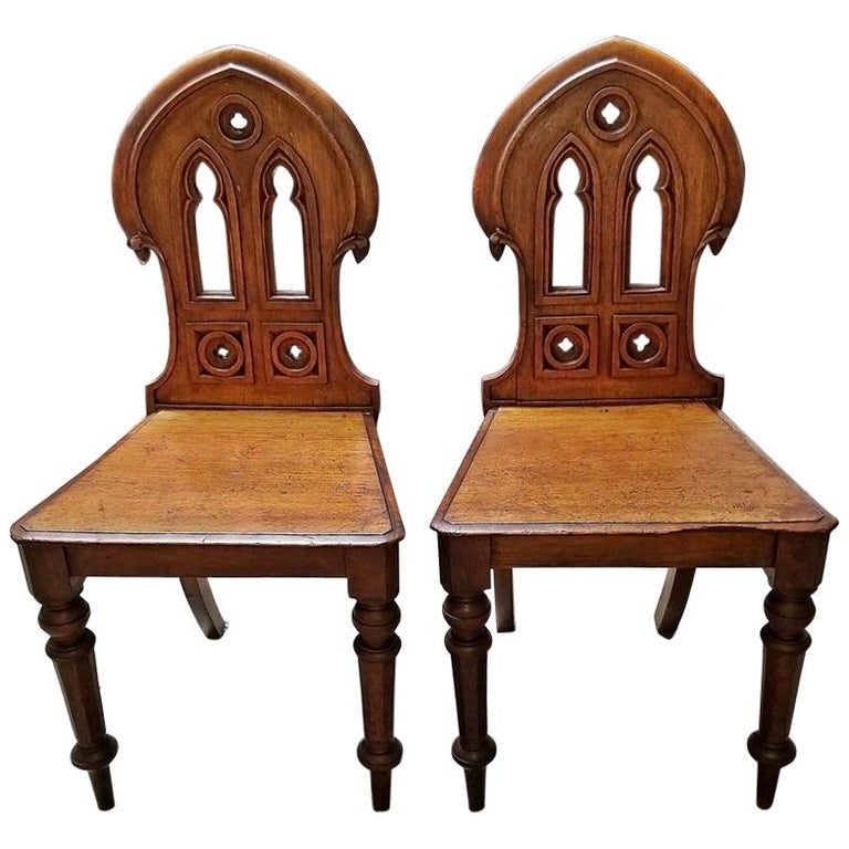 19 Century Pair of Walnut Gothic Revival Hall Chairs
