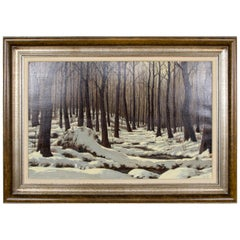 Trees in Snow Framed Oil on Canvas Ronald Davies