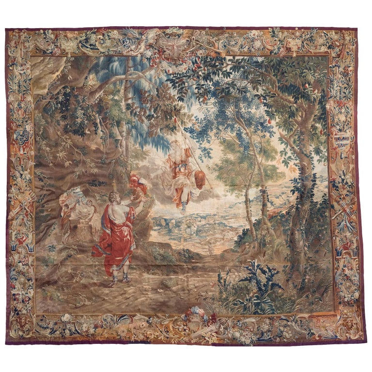 Early 17th Century Brussels Tapestry, Fine Detailed, Red, Green, Light Blue