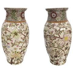 Pair of Antique Kutani Japanese Porcelain Vases