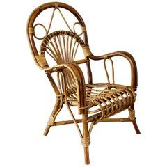Midcentury Rattan Children's Chair