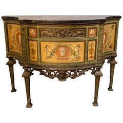 Italian Hand Painted Marble Top Commode