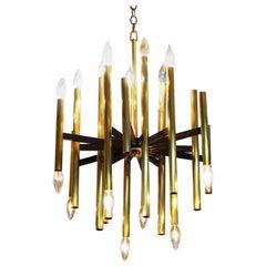 Italian Modernist Lightolier Chandelier in Brass