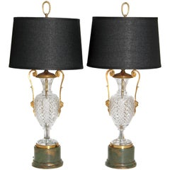 Mid-Century Cut Crystal and Gilt Bronze Lamps by Cristal et Bronze / Paris