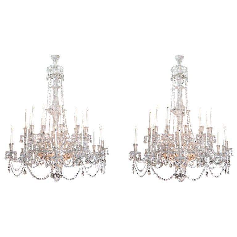 Pair of Majestic 24-Light Cut Crystal Chandeliers For Sale