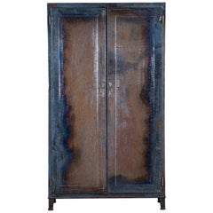 Vintage Italian Industrial Iron Metal Cabinet Armoire, circa 1940
