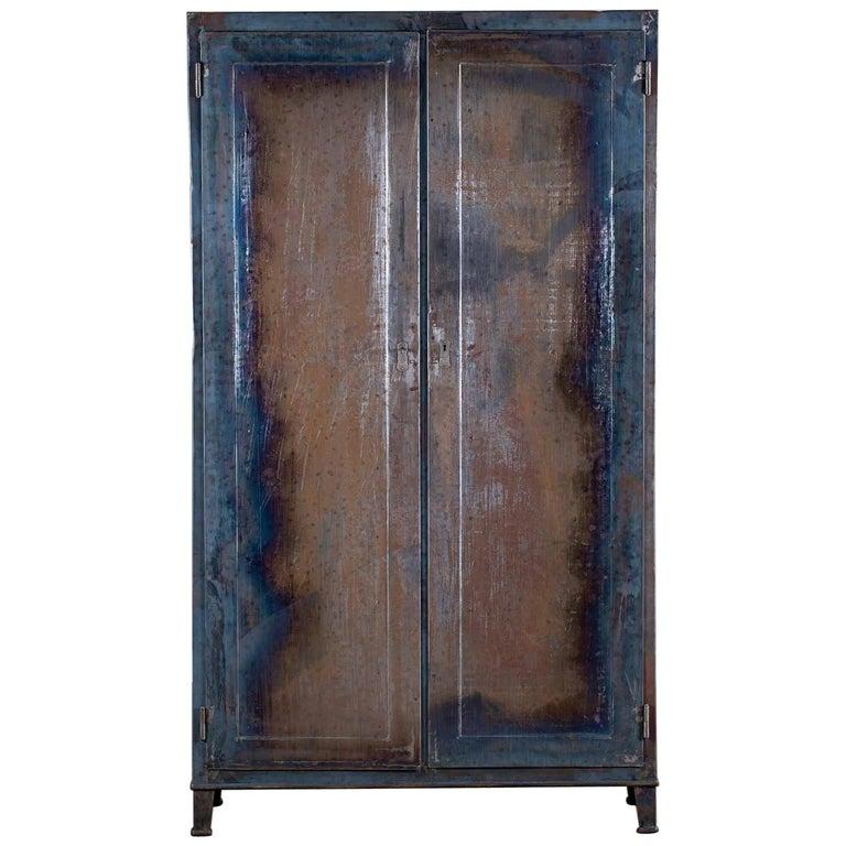 Vintage Italian Iron Metal Cabinet Armoire Circa 1940 For