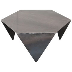 Hexagon Coffee Table in Raw Black Steel Minimalist Design by Mtharu