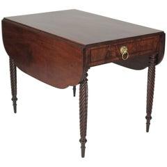 Sheraton Twist Leg Drop Leaf with One Drawer Table, circa 1820-1840