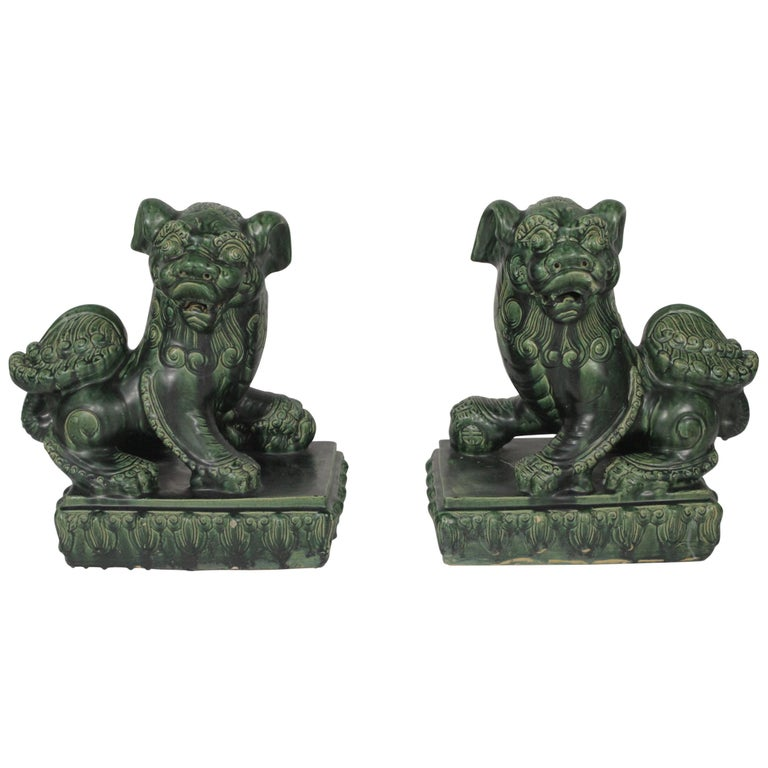 Large Pair of 19th Century Green Glazed Large Foo Dogs