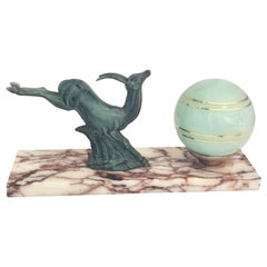 Art Deco French Mood Lamp with a Leaping Gazelle or Deer