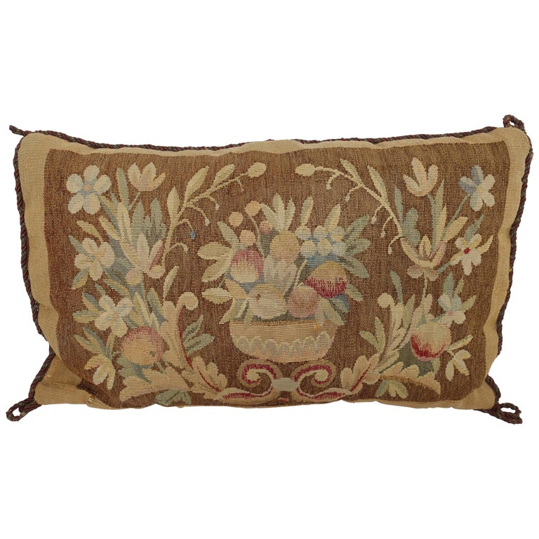 19th Century Tapestry Fragment Pillow For Sale