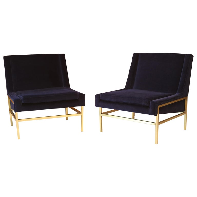 Exceptional Harvey Probber Brass and Velvet Lounge Slipper Chairs